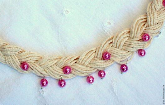 """Колье, бусы ручной работы. Ярмарка Мастеров - ручная работа. Купить Ожерелье льняное в стиле бохо """"Марго"""". Handmade. Комбинированный"""