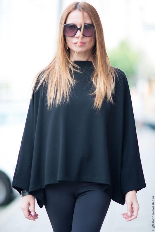 Черная блузка. Блузка. Блузка с длинным рукавом. Ручная работа. Ярмарка Мастеров.