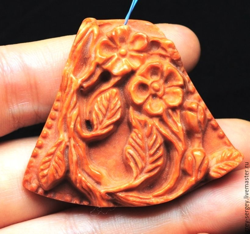 All for Jewelry Making handmade. Livemaster - handmade. Buy Carved pendant Flowering plum.Red, talisman, natural stone