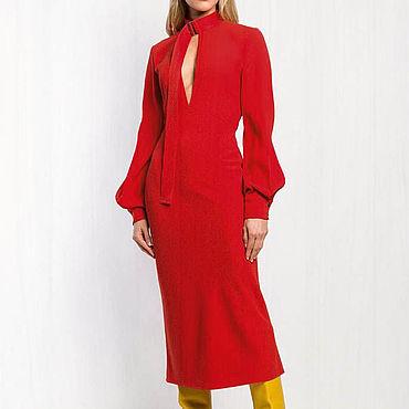 Одежда ручной работы. Ярмарка Мастеров - ручная работа Красное платье женское 775В. Handmade.