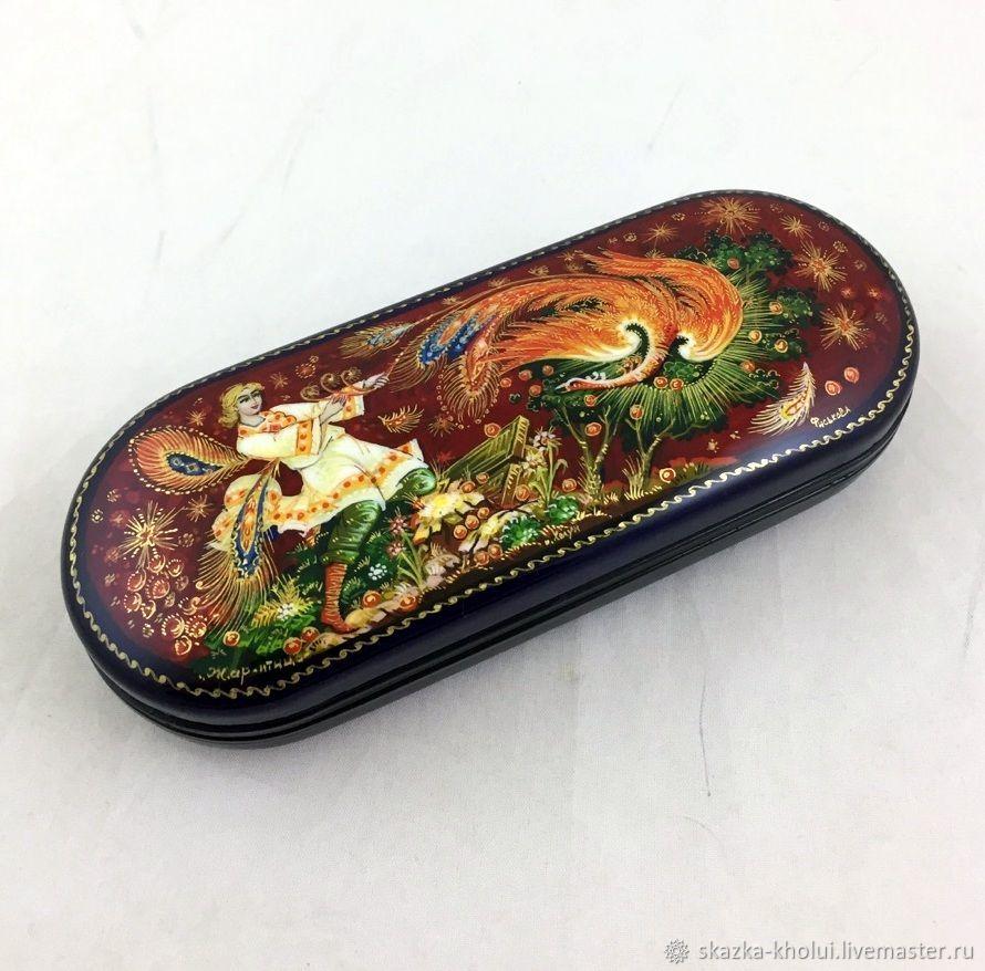 The feather of the Firebird .Eyeglass case lacquer miniature, Eyeglass case, Yuzha,  Фото №1
