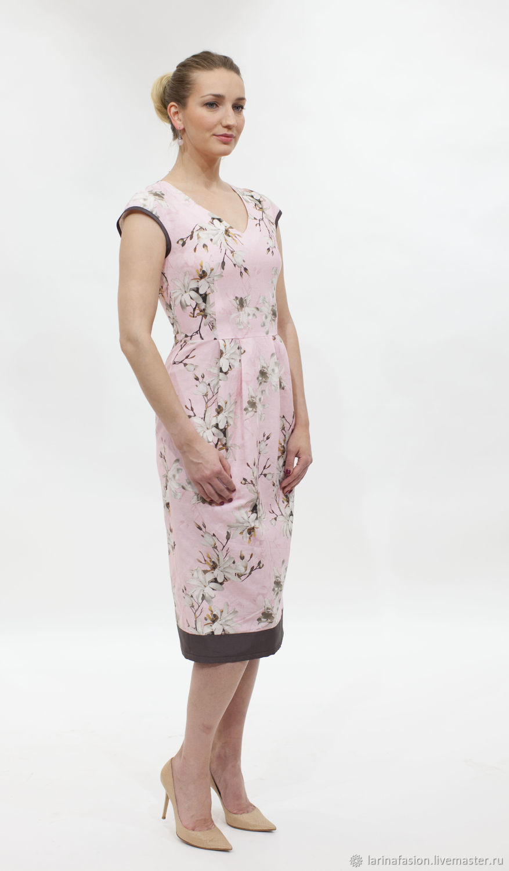 54af0c604982ab6 Платья ручной работы. Ярмарка Мастеров - ручная работа. Купить Льняное  платье миди с цветочным ...