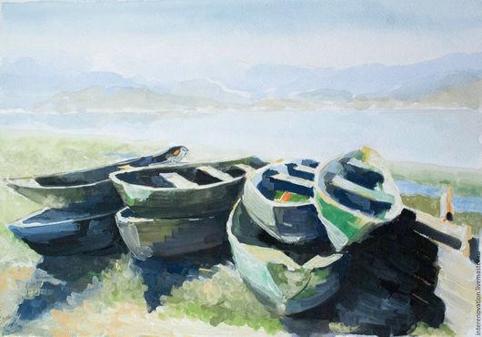 """Пейзаж ручной работы. Ярмарка Мастеров - ручная работа. Купить картина гуашь """"Лето. Лодки. Скадарское озеро"""", живопись. Handmade."""