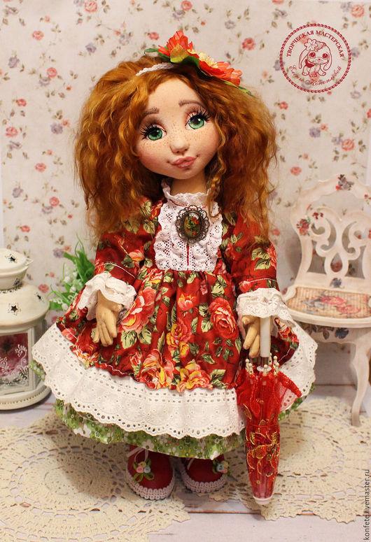 Коллекционные куклы ручной работы. Ярмарка Мастеров - ручная работа. Купить Кукла Натали текстильная интерьерная с объемным личиком. Handmade.