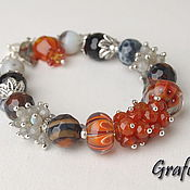 Украшения handmade. Livemaster - original item Orange bracelet with stones. Handmade.
