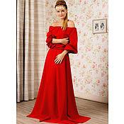 Одежда ручной работы. Ярмарка Мастеров - ручная работа Длинное вечернее платье в пол, красное платье макси. Handmade.