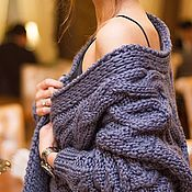 Одежда handmade. Livemaster - original item Cardigans Women`s knitted cardigan of large knitting with Merino diamonds. Handmade.