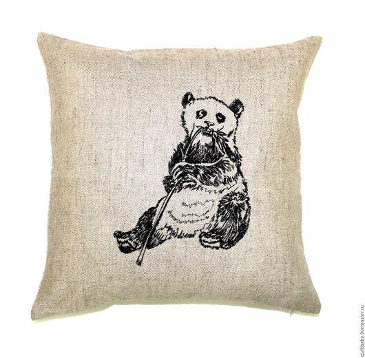 """Текстиль, ковры ручной работы. Ярмарка Мастеров - ручная работа. Купить Декоративная подушка """"Панда"""". Handmade. Серый, подушка"""
