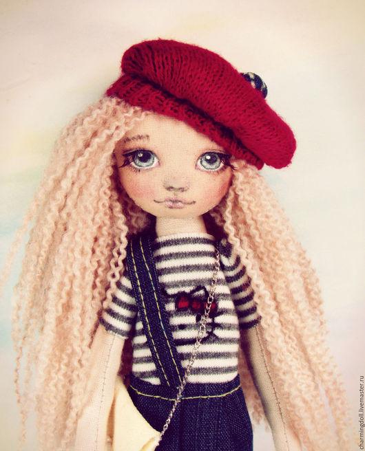 Коллекционные куклы ручной работы. Ярмарка Мастеров - ручная работа. Купить Авторская текстильная кукла. Handmade. Ярко-красный, хлопок