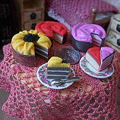 Кукольная еда ручной работы. Ярмарка Мастеров - ручная работа Еда для кукол, торт+кусочек, масштаб 1:12,1:6. Handmade.