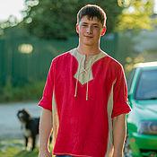 Народные костюмы ручной работы. Ярмарка Мастеров - ручная работа Льняная рубаха красная. Handmade.
