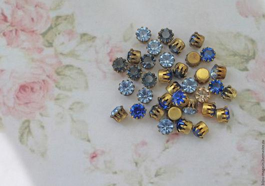 Для украшений ручной работы. Ярмарка Мастеров - ручная работа. Купить Винтажные кристаллы Swarovski 6мм. цвет синий, голубой, серо-синий. Handmade.