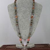 Украшения handmade. Livemaster - original item Long necklace with a pendant of NAT. stones (unakite, rhyolite,agate, rhodonite). Handmade.