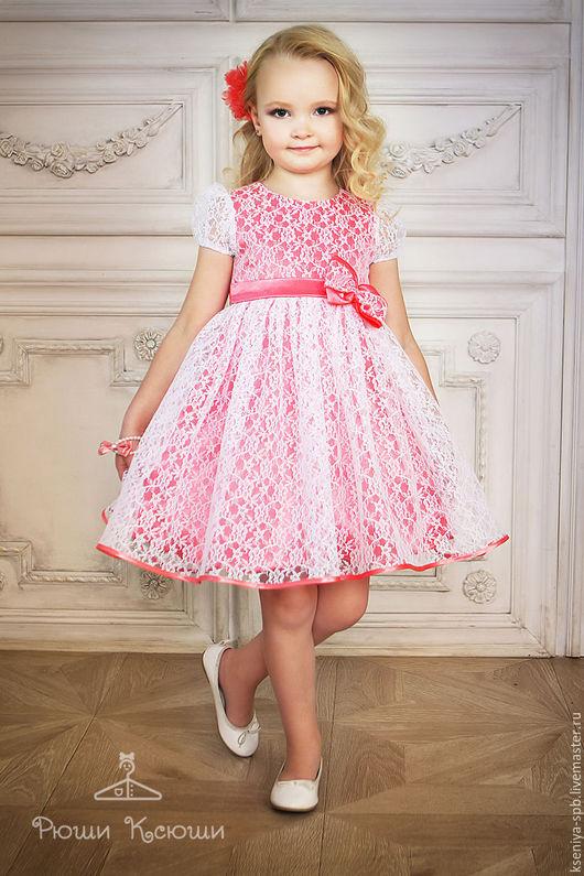 Одежда для девочек, ручной работы. Ярмарка Мастеров - ручная работа. Купить Платье в французском стиле,нарядное для маленькой девочки  (коралл-72). Handmade.