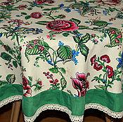 """Для дома и интерьера ручной работы. Ярмарка Мастеров - ручная работа """"Цветов ажурное плетенье""""  круглая льняная скатерть. Handmade."""