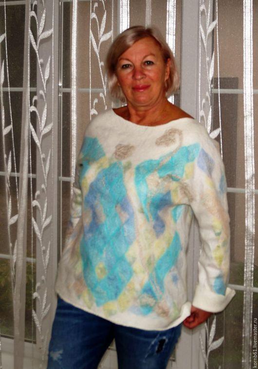 """Кофты и свитера ручной работы. Ярмарка Мастеров - ручная работа. Купить Свитер валяный """" Цветная мозаика"""" нуно). Handmade."""