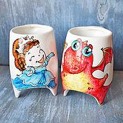 """Посуда ручной работы. Ярмарка Мастеров - ручная работа """"Сладкая парочка - Принцесса и дракон"""" - чашки с ножками (0150). Handmade."""