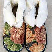 """Обувь ручной работы. Ярмарка Мастеров - ручная работа Чуни из овчины """"Розы"""" белые. Handmade."""