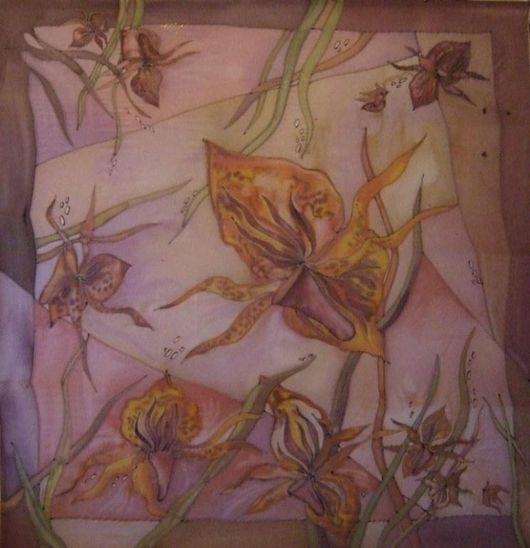 Шали, палантины ручной работы. Ярмарка Мастеров - ручная работа. Купить Орхидеи. Handmade. Бежевый, цветочный, батик платок, орхидея
