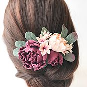 Свадебный салон handmade. Livemaster - original item Comb with peonies in the bride`s hairstyle. polymer clay.. Handmade.