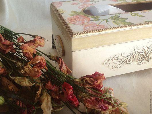 """Кухня ручной работы. Ярмарка Мастеров - ручная работа. Купить Салфетница """"Чайная роза"""". Handmade. Подарок, бежевый, роза, мдф"""