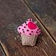 """Броши ручной работы. Ярмарка Мастеров - ручная работа. Купить Брошь из фетра """"Кекс"""". Handmade. Бледно-розовый, брошь из войлока"""
