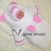 """Работы для детей, ручной работы. Ярмарка Мастеров - ручная работа Комбинезон-конверт для новорожденного """"Белый с нежно-розовым бантом"""". Handmade."""