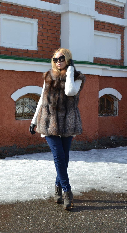 Vest fur black Fox (Color crystal), Vests, Omsk,  Фото №1