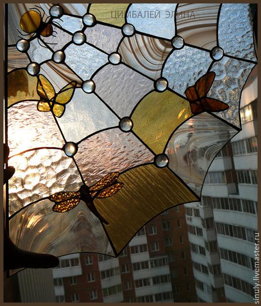 """Элементы интерьера ручной работы. Ярмарка Мастеров - ручная работа. Купить Витраж для окна """"Паутина"""". Handmade. Разноцветный, подвеска, олово"""