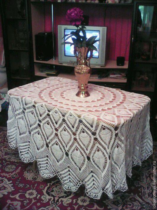 Текстиль, ковры ручной работы. Ярмарка Мастеров - ручная работа. Купить Скатерть. Handmade. Белый, на круглый стол, 100% хлопок