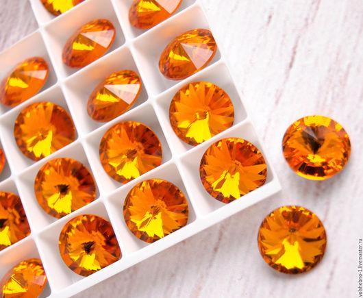 Для украшений ручной работы. Ярмарка Мастеров - ручная работа. Купить 12 мм Риволи 1122 Swarovski, Tangerine. Handmade.