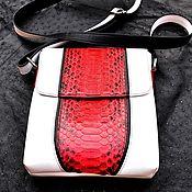 Сумки и аксессуары handmade. Livemaster - original item Men`s shoulder bag, Python leather genuine white leather.. Handmade.