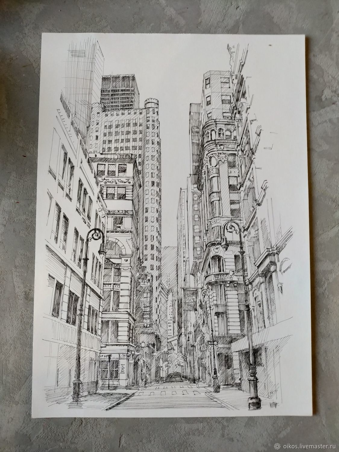 The picture of urban landscape pattern. Cities of the world drawing streets of America, Pictures, St. Petersburg,  Фото №1