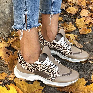 Обувь ручной работы. Ярмарка Мастеров - ручная работа Кожаные кроссовки Galaxy K102 (лео+капучино+бежевый). Handmade.