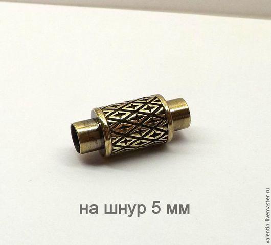 Для украшений ручной работы. Ярмарка Мастеров - ручная работа. Купить Магнитный замок на шнур 5 мм. Handmade. Желтый