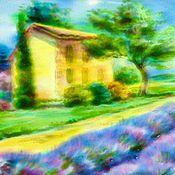 Картины и панно ручной работы. Ярмарка Мастеров - ручная работа Лавандовые поля, витражная живопись по стеклу. Handmade.