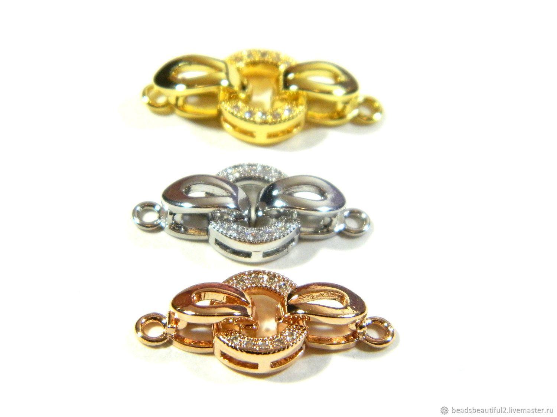 Замки 3 цвета золото 18к, платина, розовое, микро цирконы. шт, Фурнитура для украшений, Саратов,  Фото №1