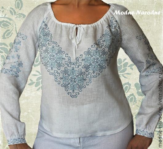 Льняная блуза с ручной вышивкой Дзвинка. Модная одежда с ручной вышивкой. Творческое ателье Modne-Narodne.