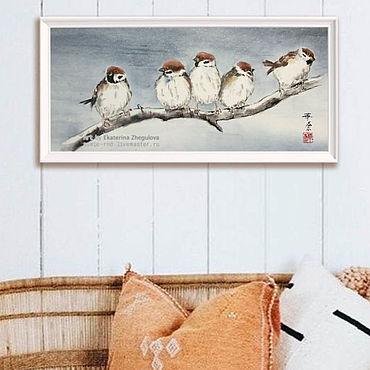 Картины и панно ручной работы. Ярмарка Мастеров - ручная работа Картина Банда 50x23 японская живопись суми-э воробьи снег зима ветка. Handmade.