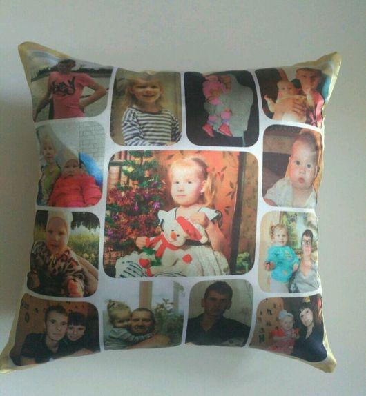 Текстиль, ковры ручной работы. Ярмарка Мастеров - ручная работа. Купить Подушка с фото на подушке подарок девушке женщине на день рождения. Handmade.