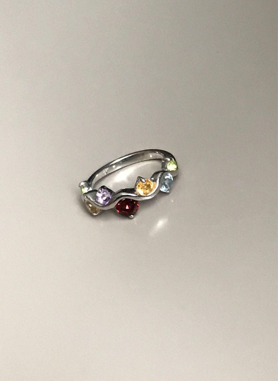 Серебряное кольцо с гранатом, топазом, цитрином, перидотом, аметистом, Серьги, Уфа, Фото №1