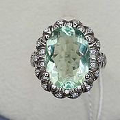 Украшения handmade. Livemaster - original item Silver ring with 14h10 mm fluorite and cubic zirconia. Handmade.