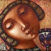 """Подарки к праздникам ручной работы. Ярмарка Мастеров - ручная работа """"Ангел с цветком"""", авторская печать. Handmade."""