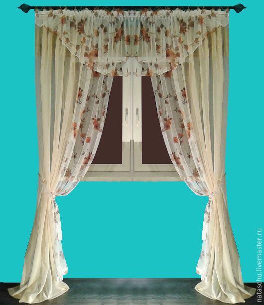 Текстиль, ковры ручной работы. Ярмарка Мастеров - ручная работа. Купить Легкие шторы с ламбрекеном. Handmade. Шторы, шторы для гостиной