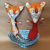 Мягкие игрушки ручной работы. Ярмарка Мастеров - ручная работа Парочка котов из папье-маше. Handmade.