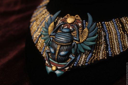 Колье, бусы ручной работы. Ярмарка Мастеров - ручная работа. Купить Колье Скарабей египетский стиль. Handmade. Синий, золотой