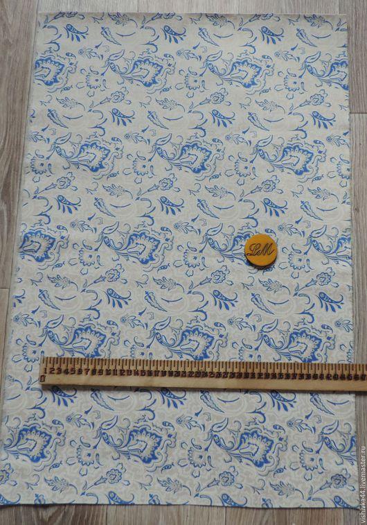 Шитье ручной работы. Ярмарка Мастеров - ручная работа. Купить ткань лен хлопок Бело-голубые завитки. Handmade. Лен