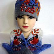 Аксессуары handmade. Livemaster - original item Felting kit.Cap and mittens.. Handmade.