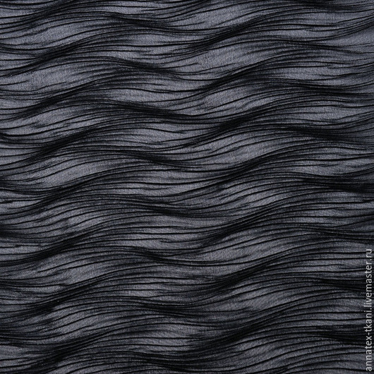 Шифон плиссе Чезер - цвет черный