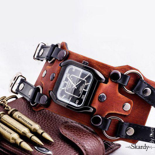 """Часы ручной работы. Ярмарка Мастеров - ручная работа. Купить Наручные часы """"Quadra"""". Handmade. Коричневый, наручные часы на ремне"""
